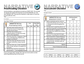 Narrative Writing Plan, Proofreading & Assessment Checklists