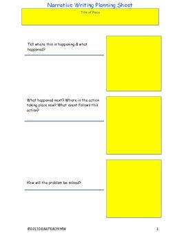 Narrative Writing Planning Sheets