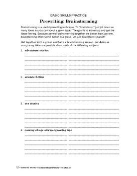 Narrative Writing: Prewriting: Brainstorming