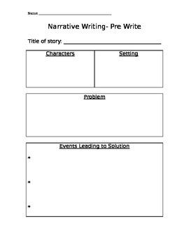 Narrative Writing- Prewriting Organizer
