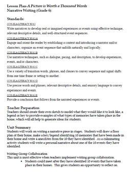 English Language Arts - Narrative Writing - Middle School Common Core Aligned