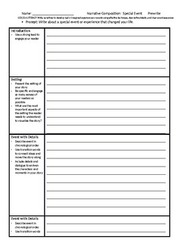 Narrative Writing Prompt & Graphic Organizer/Template