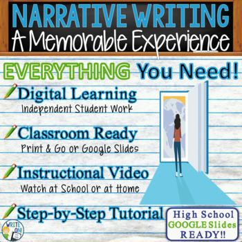 NARRATIVE WRITING PROMPT - Memorable Experience - High School