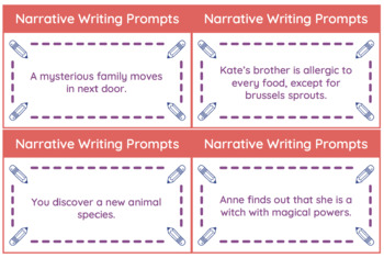 Narrative Writing Prompts - 50 Story Starter Cards