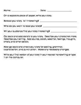 Narrative Writing Prompts Organizer
