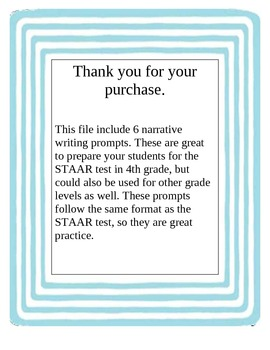 Narrative Writing Prompts for STAAR