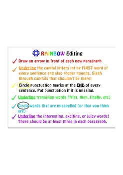 Narrative Writing- RAINBOW Edit Student Sheet