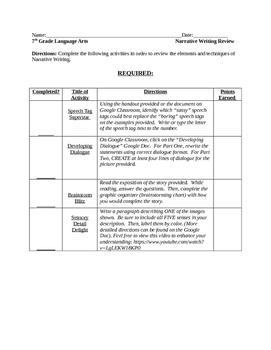 Narrative Writing Review Activities/Narrative TEST PREP Fun!
