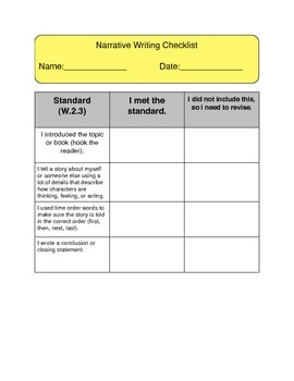 Narrative Writing Revising Checklist
