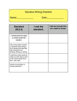 Narrative Writing Revising Checklist