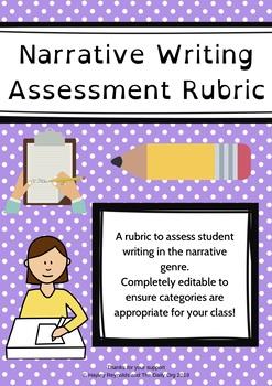 Narrative Writing Rubric (Child Friendly) *EDITABLE*