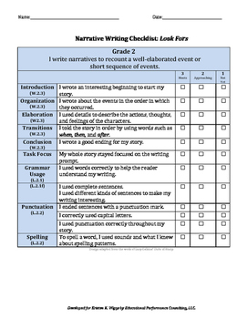 Narrative Writing Rubric and Looks Fors for 2nd Grade