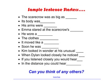 Narrative Writing- Scarecrow Snapshot Lesson