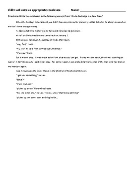 Narrative Writing Skill Reteach: Writing a Conclusion