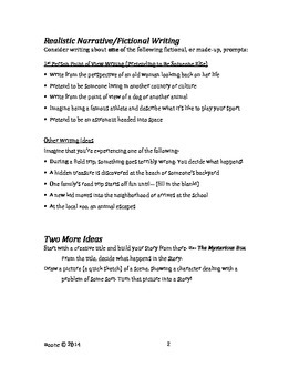 Narrative Writing Starters for Realistic or Non-Fiction Narratives
