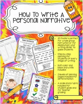 Narrative Writing-Step By Step Posters and Guidelines-Rubric and Scale
