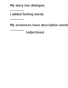 Narrative Writing Student Checklist