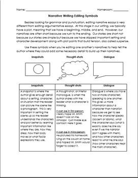 Narrative Writing Symbols Handout & Worksheet