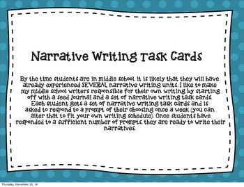 Narrative Writing Task Cards (the middle school edition)