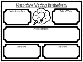 Narrative Writing Text Based Brainstorming Organizer