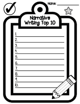 Narrative Writing Top 10 Brainstorming Student Created Checklist