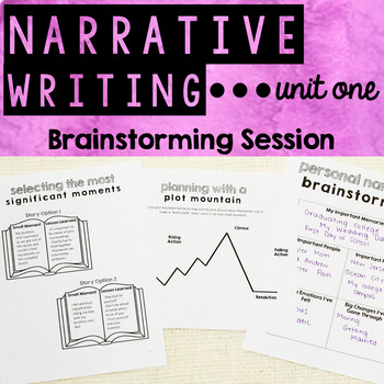 Personal Narrative Writing - Unit One - Brainstorming and Planning