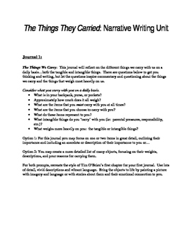 Narrative Writing Unit: The Things They Carried