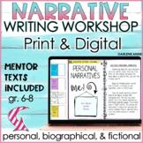 NARRATIVE WRITING WORKSHOP UNIT : PERSONAL, FICTIONAL & MORE- MIDDLE SCHOOL ELA