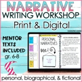 Narrative Writing Workshop for Middle School ELA Print & DISTANCE LEARNING