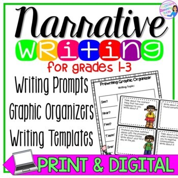Narrative Writing Prompts, Task Cards, and graphic organizers for writing