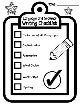 Narrative Writing, Language Conventions, and Grammar Checklist