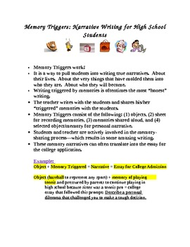 Narrative Writing For High School Memory Triggers By Judy Hill  Tpt