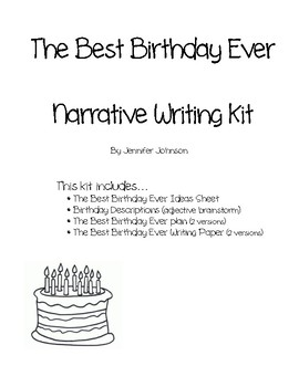 Narrative Writing kit- The Best Birthday Ever