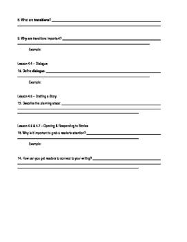 Narrative Writing notes activity