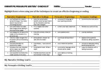 Narrative and Persuasive Writing Goals Checklist / Naplan