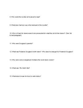 Narrative of Frederick Douglass - PreReading Questions
