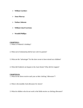 """Narrative of the Life of Frederick Douglass"" 7-Page Study Guide"