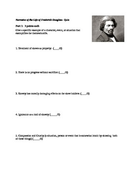 Narrative of the Life of Frederick Douglass Post Reading Quiz