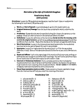 Narrative of the Life of Frederick Douglass. Vocabulary and Quiz (w/ CCSS)