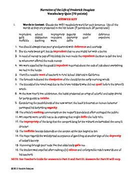 narrative of the life of frederick douglass vocabulary and quiz w rh teacherspayteachers com School Answer Keys narrative of the life of frederick douglass study guide answer key