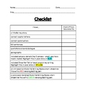 Narrative (or Realistic Fiction) Writing Checklist