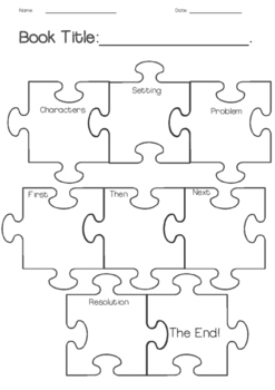Narrative puzzle piece organizer for creative story writing