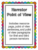 Narrator Point of View: First and Third Person Narrator Printable