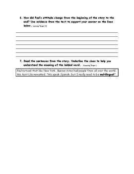 Narrator's Point of View Comprehension Qs for Reading Wonders Grade 5