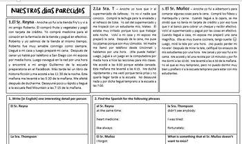 Narrow reading - Our similar days (preterite)