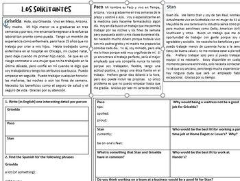 Narrow reading activity- employment (Spanish)
