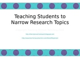 Narrowing Research Topics Task Cards