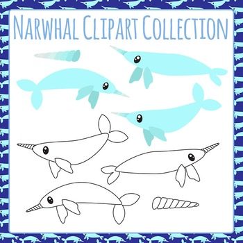 Narwhal Clip Art Pack for Commercial Use