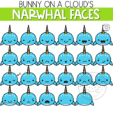 Narwhal Faces Clipart by Bunny On A Cloud