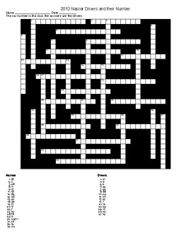 Nascar 2010 Drivers Crossword and Word Search with KEYs